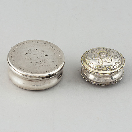 Two swedish silver boxes, 18-19th century.