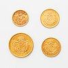 Four goldcoins, oscar ii, 10 kr 1873 and 1901, 5 kr 1901, 20 kr 1876.