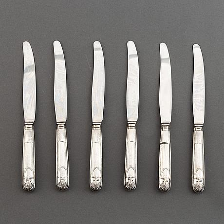 Six swedish silver knives, mark of carl gustaf lundgren, östersund 1867.