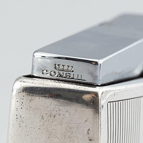 Sigvard bernadotte, a sterling silver table lighter, georg jensen.