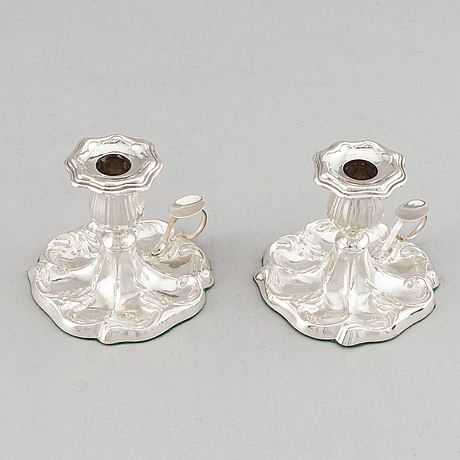 A pair of silver chamber candlesticks, mark of w pettersson, åbo, finland 1891.