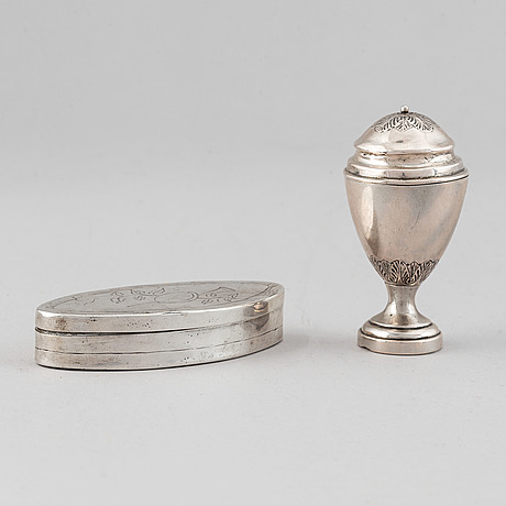 Two silver boxes, ai lignell, sundsvall, sweden circa 1820 and po quade, maribo, denmark 1840-96.