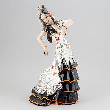 """C.I.A. Manna, a large ceramic figurine """"Fior di Spagna"""" (The Spanish Dancer), Torino, Italy 1940-50's."""