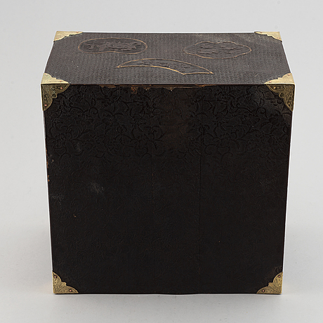 A japanese lacquered cabinet, meiji, circa 1900.