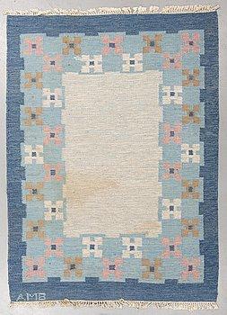A carpet, flat weave, ca 237-240 x 172-174 cm, signed AMB.