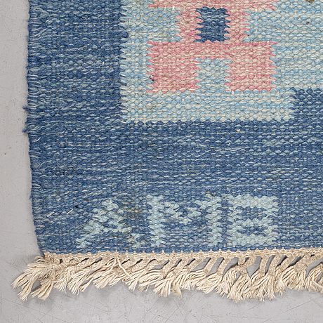 Matto, flat weave, ca 237-240 x 172-174 cm, signed amb, possibly designed by anne marie boberg.
