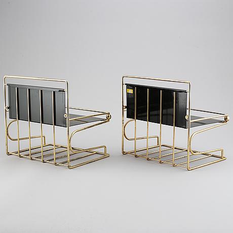 Gunnar ander, telefonhyllor, två stycken, ystad metall, 1960-tal.