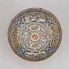 A blue glazed canton bowl for the persian market, qing dynasty, 19th century.