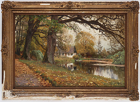 Peder mork mönsted, oil on canvas, signed p mönsted and dated 1907.