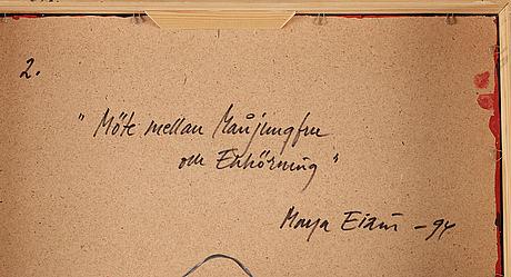 Maya eizin öijer, signerad maya eizén och daterad -94 a tergo. pannå.