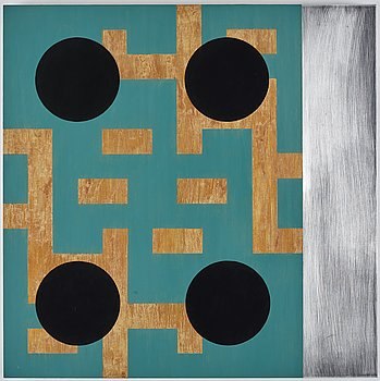 Olle Borg, signed and dated 1990 a tergo. Mixed media on aluminum.