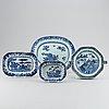 Serveringsfat, fyra stycken, olika, kompaniporslin. qingdynastin, qianlong (1736-95).
