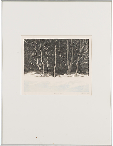 Tuula lehtinen, etching, signed and dated 1985, numbered 25/100.
