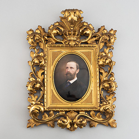 Porcelain painting, a royal portrait depicting oscar ii of sweden and norway, second half of the 19th-century.