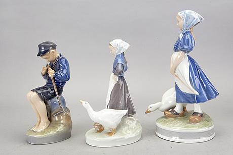 Figuriner, 5 st, royal copenhagen danmark porslin sent 1900-tal.