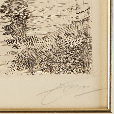 Anders zorn, etching, 1907, signed in pencil.