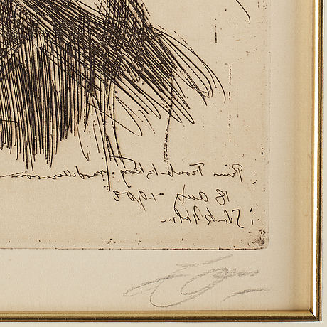 Anders zorn, etching, 1909, signed in pencil.