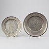 Four 1 pewter plates, 18th/19th century.