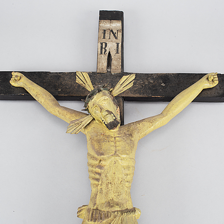 A wooden painted crucifix, 18th/19th century.