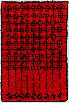 Irja Mikkola, A Finnish long pile rug for Ryijypalvelu. Circa 166x110 cm.