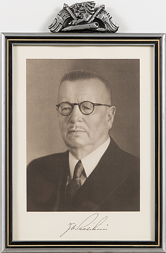 Paasikivi, tryckbild i ram, 1940-tal.