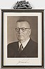 Framed print of paasikivi, president of finland. 1940s.