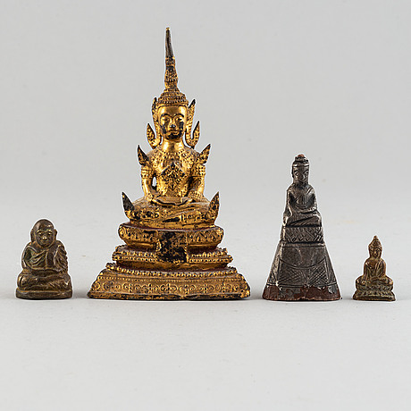 Four figures of buddha, east-asian, probably 19th century.