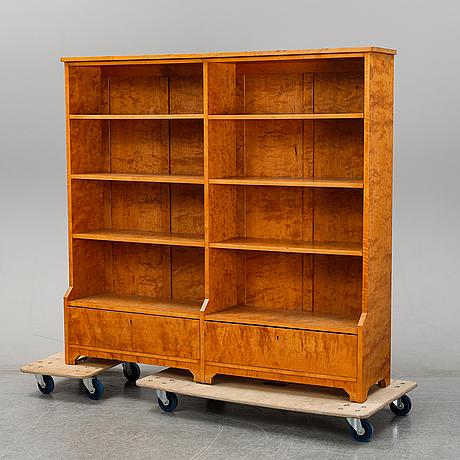 A birch veneered bookcase, 1920's/30's.