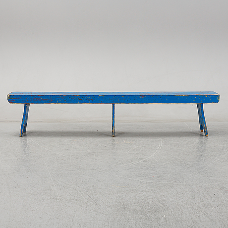 A painted pine bench, late 19th century.
