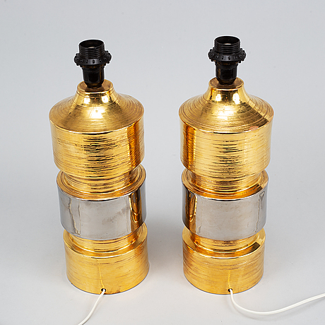 A pair of eartheware table lights bitossi, italy, 1960's-70's.