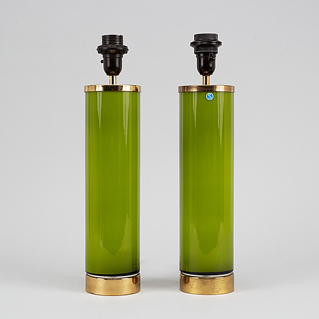 A pair of glass table lights, bergboms, 1960's/70's.