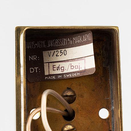 A late 20th century hans-agne jakobsson wall light, v/250, markaryd, sweden.