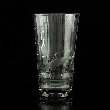 Edward Hald, a glass vase, Orrefors. 1930s.