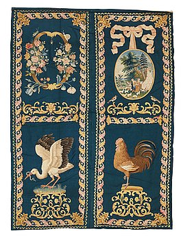 267. Embroidered panels, 4 pcs., wool on wool, ca 186-190,5 x 131,5-137 cm per piece, probably England 18th century.