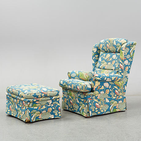 An armchair and stool, late 20th century.