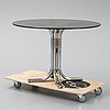 An iialian glass top dining table, 1970's/80's.