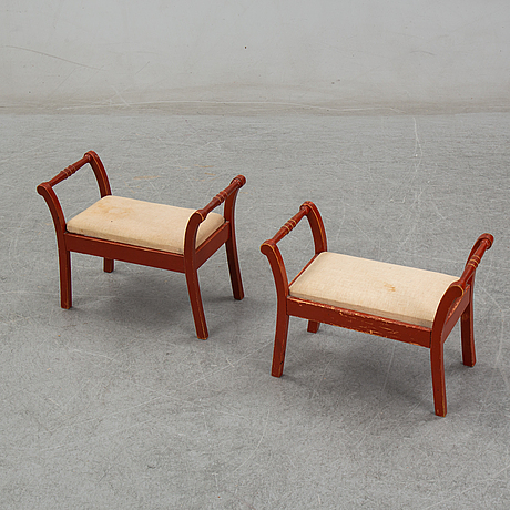 A pair of foot stools, early 20th century.