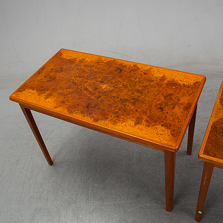 David blomberg, a matched pair of burr birch and teak tables, mid 20th century.