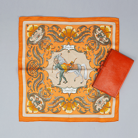Hermès, scarf and leather cover.