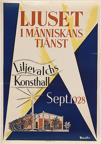 """Jerk werkmäster, a lithographic vintage poster, """"ljuset i människans tjänst"""", haeggström lito, 1928."""