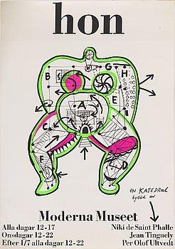 "Niki de Saint Phalle, a silk screen vintage poster, ""Hon"", Moderna Museet, 1966."