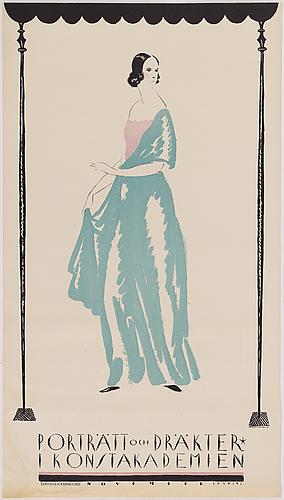 Iwo brunander, a lithographic vintage poster, 'porträtt och dräkter i konstakademien', rokotryck ab kopia, sthlm, 1917.
