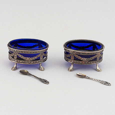 A pair of swedish gustavian silver and glass salt cellars, 1785.