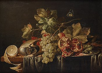 646. Jan Davidsz de Heem His studio, Still life with nautilus snail, grapes, lemon and pomegranate.