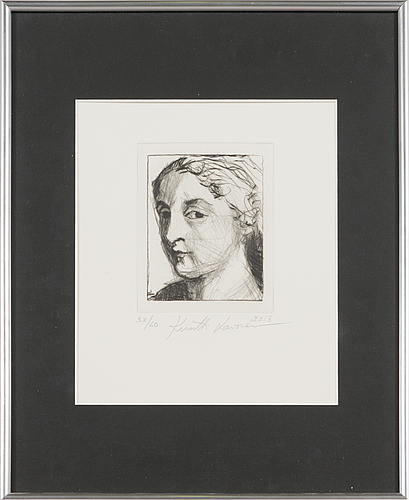 Kuutti lavonen, etching, signed and dated 2013, numbered 33/60 .