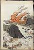 Utagawa kokunimasa (1874–1944), triptyk, färgträsnitt, japan.