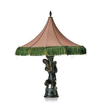 278. Astri Bergman-Taube, an Art Nouveau patinated bronze table lamp, Herman Bergman, Stockholm, early 1900's.