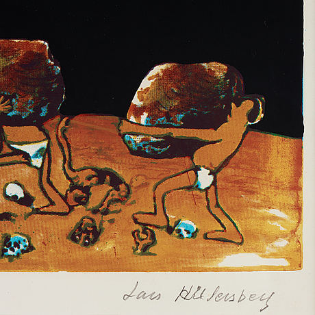 Lars hillersberg, lithograph in colours, signed 22/75.