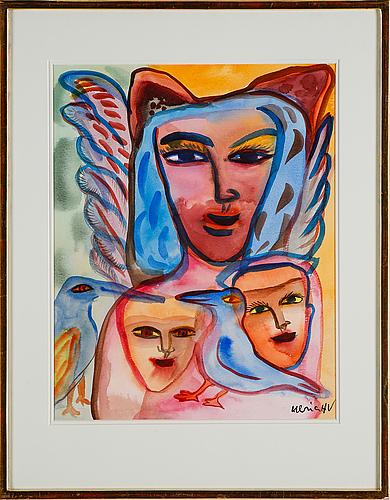 Ulrica hydman-vallien, akvarell, signerad.