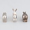 Gunnar cyrén, a set of three silver-plated zinc figurines, dansk designs, japan.